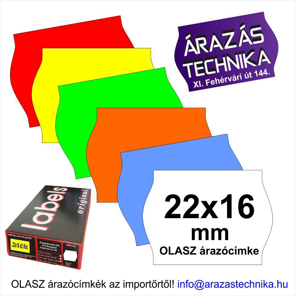 22×16mm árazócímke